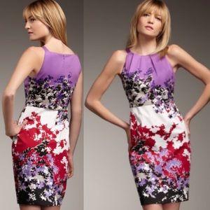 Elie Tahari Malia Purple Floral Cocktail Dress